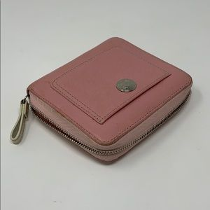 Coach  Pink Leather Zipper Wallet Card Holder